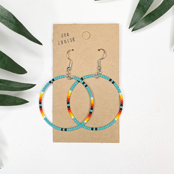 Turquoise Fire Bead Hoop Earrings