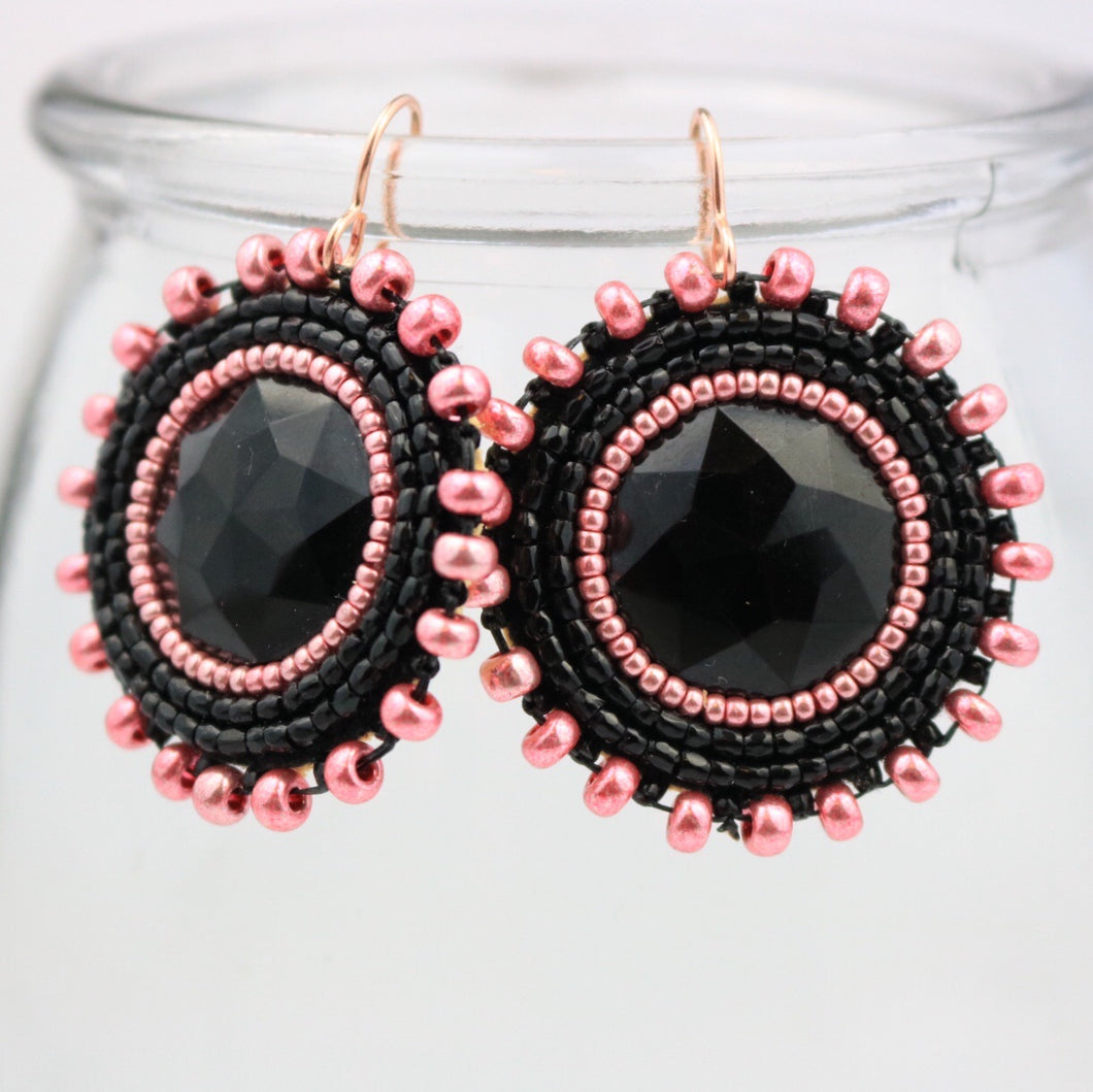 MK Style Beadwork Rose Gold and Black Beaded earrings