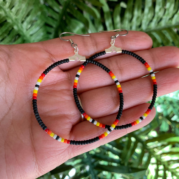 Small Black Fire  Beaded Hoop Earrings