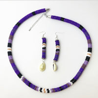 Purple Beaded Rope and Earring Set