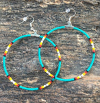 Turquoise Beaded With Silver Bead Hoop Earrings