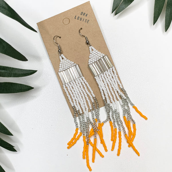 Beaded Fringe Earrings white orange silver