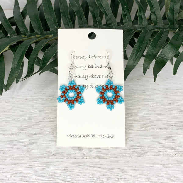 Winter Blue Fire Flower Beaded Earrings