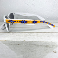 White Orange Blue Beaded Sunglasses