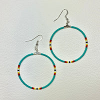 Small Teal Fire Beaded Hoop Earrings
