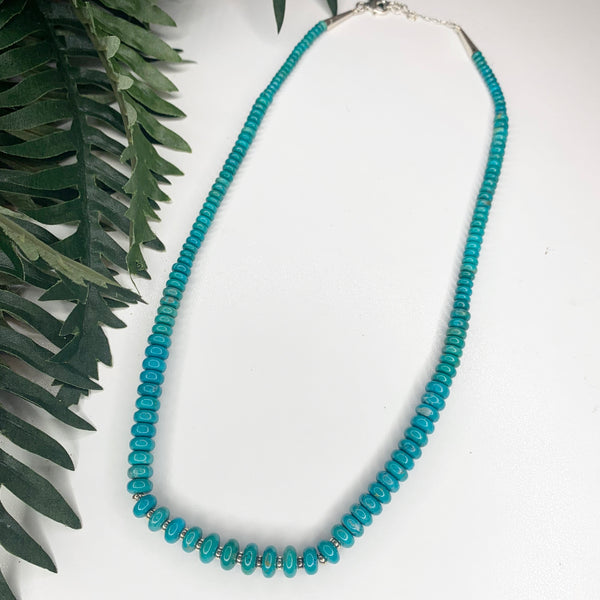Turquoise Sterling Silver Necklace 20""