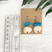 White Turquoise Bear Red Coral Earrings