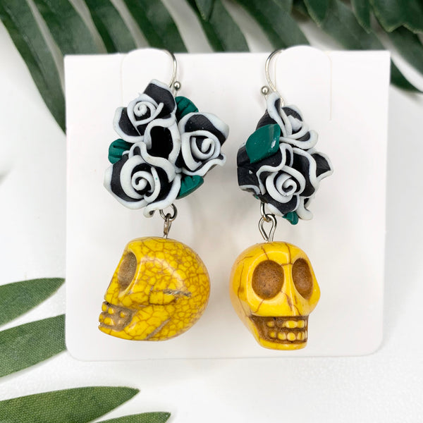 Yellow Sugar skull Green flower crown earrings
