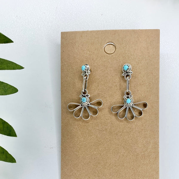 Turquoise sterling silver Flower Post earrings