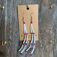 Dentalium Shell Pink Bead Dangle Earrings