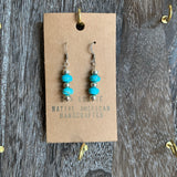 Colored Turquoise Stone Silver Plated Dangle Earrings