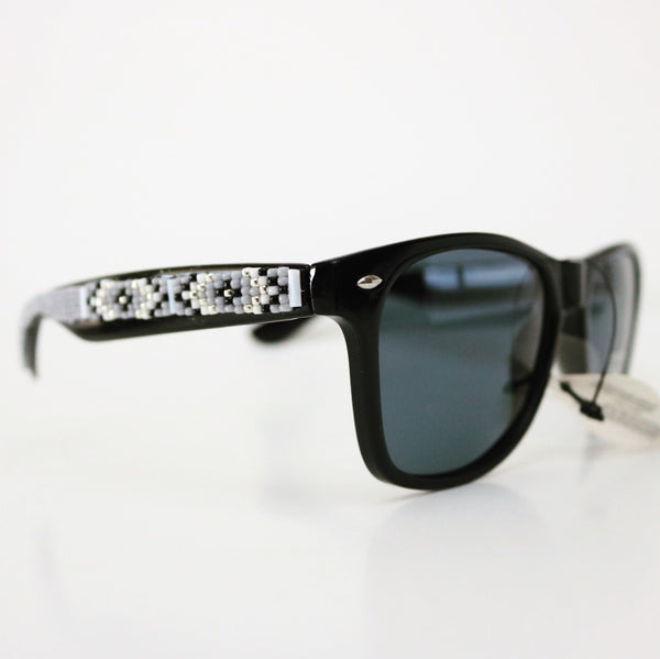 Grey white black Beaded Sunglasses
