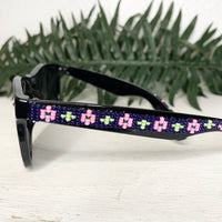 Navy Pink Flower Beaded Sunglasses