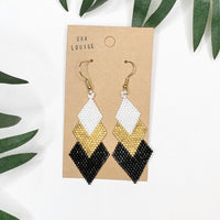 Diamond Beadwork Black Gold White Dangle Earrings