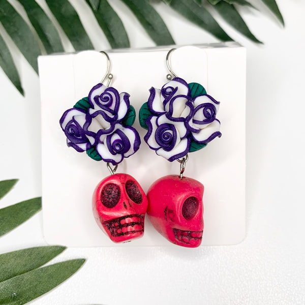 Pink Sugar Skull Navy flower crown earrings