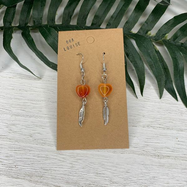 Amber Heart Feather Earring