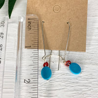 Blue Oval Stone Red Coral Earrings
