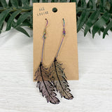 Iridescent Purple Feather Earrings