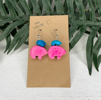 Pink Bear Blue Stone Earring