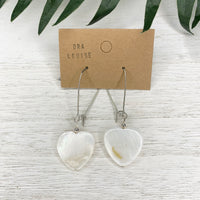 Heart Mother of Pearl Shell Kidney Earrings