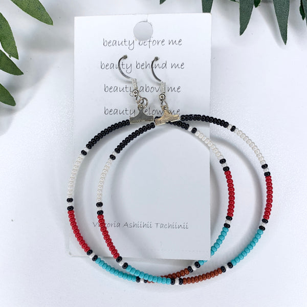 Traditional Black White Red Turquoise Beaded Big Hoop Earrings