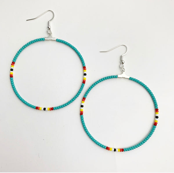Turquoise Beaded fire Hoop Earrings