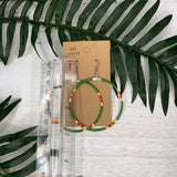 Forest Green Hoop Beaded Earrings