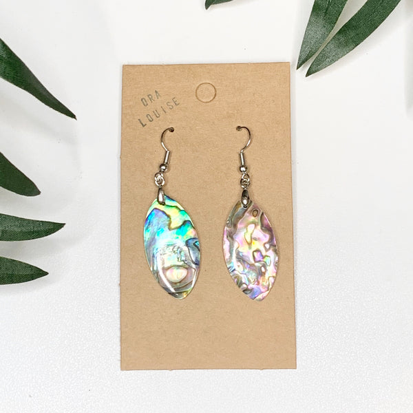 Abalone Shell Oval ellipses Earrings