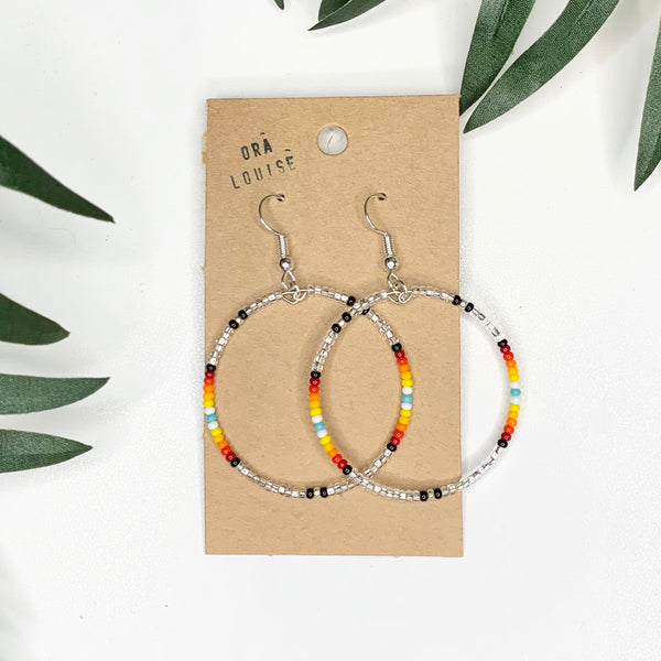 Silver Bead Hoop Earrings