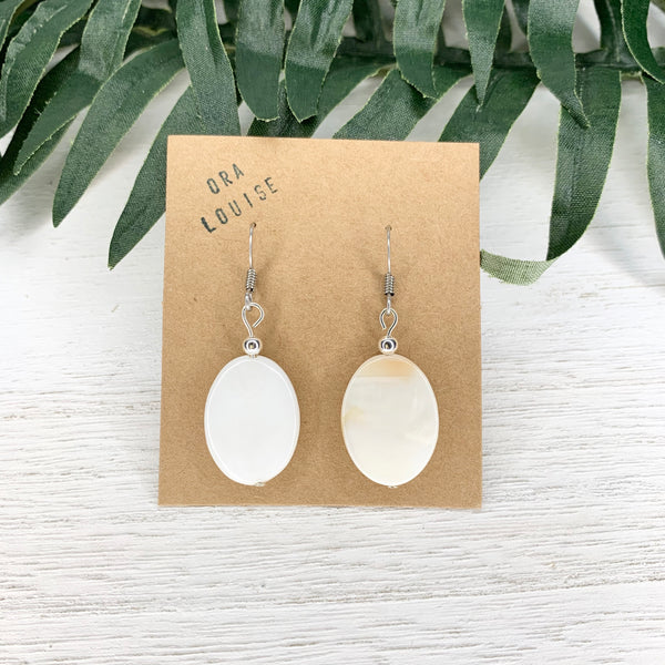 Oval Mother of Pearl Shell Earrings