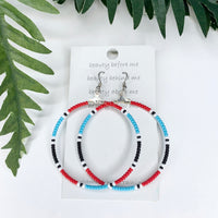 Traditional Designs Red Blue white Hoop Earrings