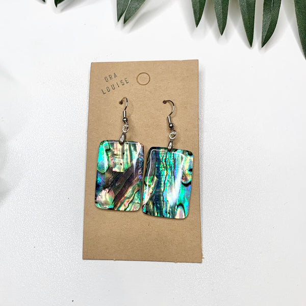 Abalone Shell Rectangle Earrings