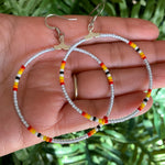 Ice Grey Hoop Beaded Earrings
