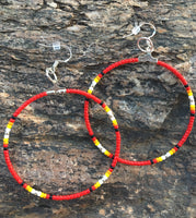 Red Silver Beaded Hoop Earrings