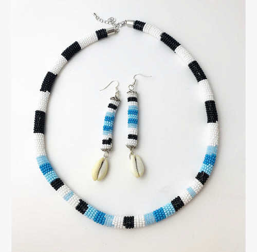 Beaded Rope and Earring Set