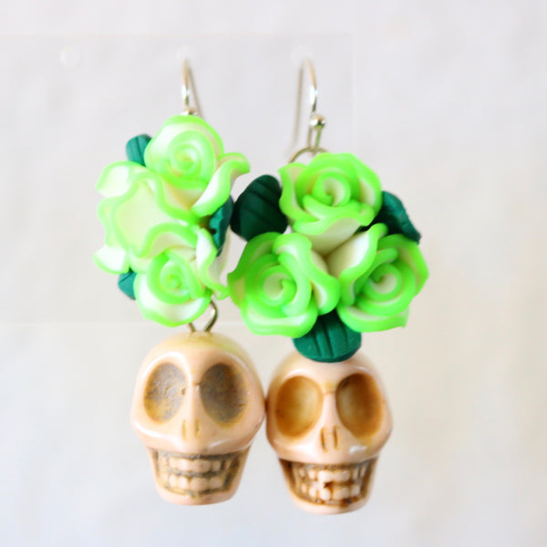White Sugar skull green flower crown earrings