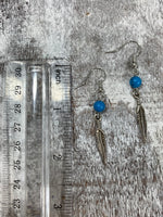 Feather Blue Stone Dangle Earrings