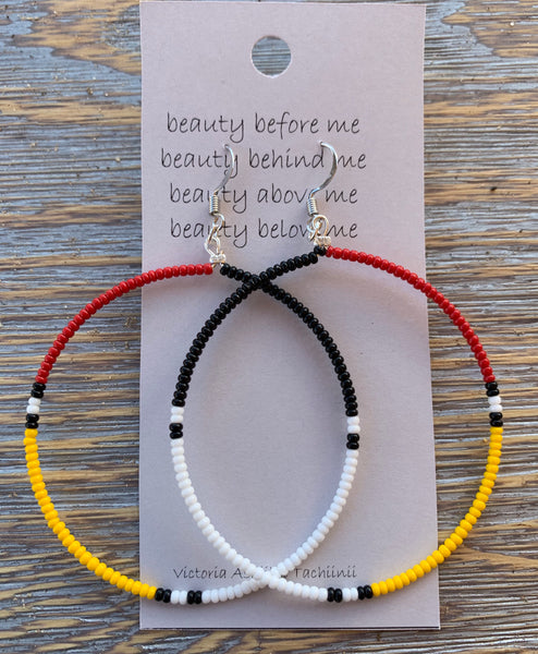 Medicine Wheel Beaded Big Hoop Earrings
