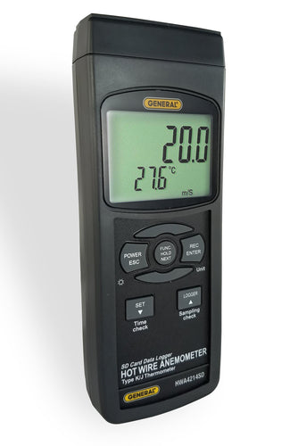 Hot Wire Anemometer-Thermometer with Data Logging SD Card, General Tool's Model AF-GT-HWA4214SD