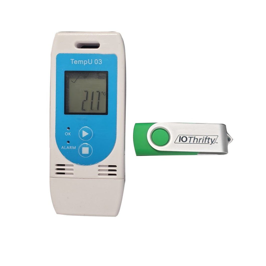 DL-TZ-TEMPU03 temperature/humidity data logger with configuration software on flash drive