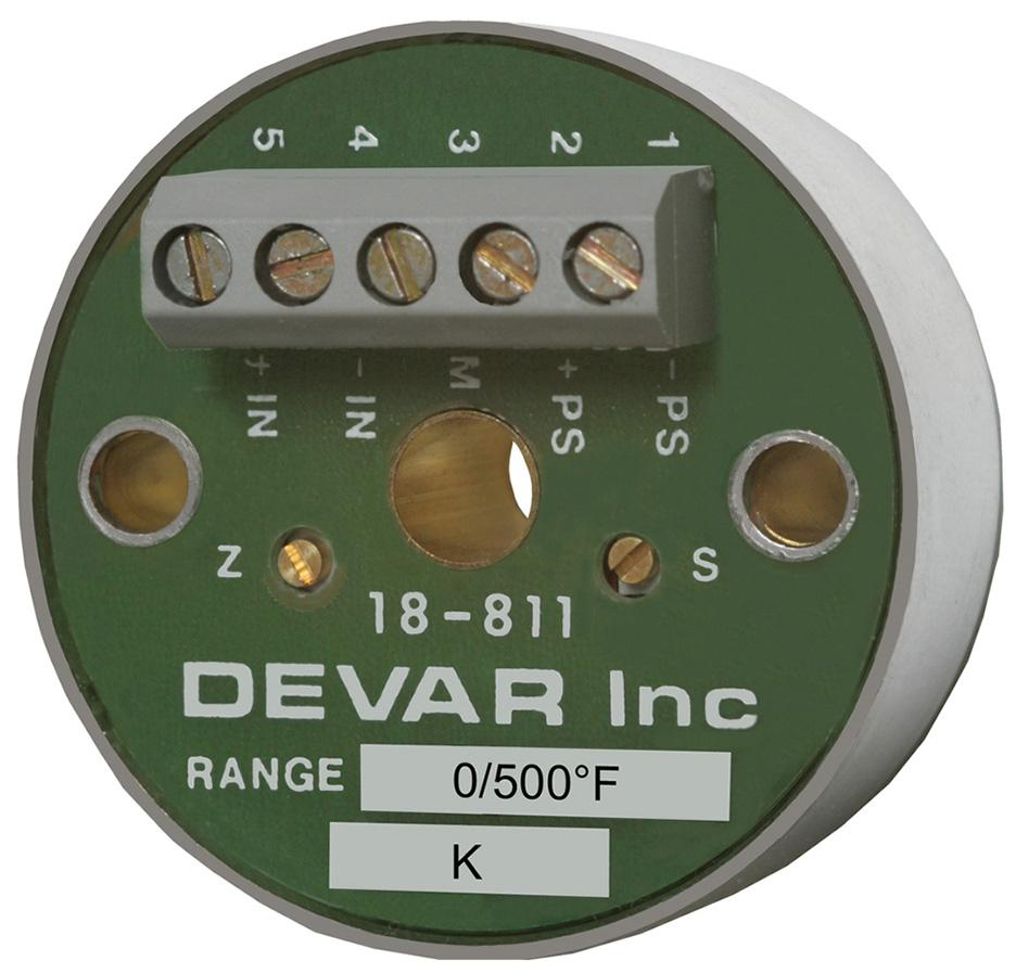 FM Approved, Intrinsically Safe, Two Wire Thermocouple Transmitter - Devar Model 18-811IS