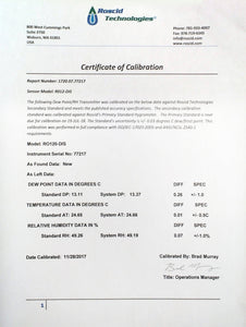 NIST Traceable Calibration Certificate