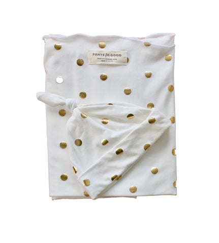 Newborn Swaddle Set Gold Dot