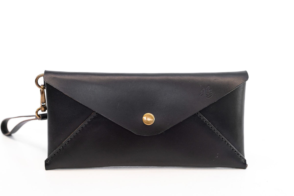 H+B CLUTCH | BLACK LEATHER CLUTCH PURSE