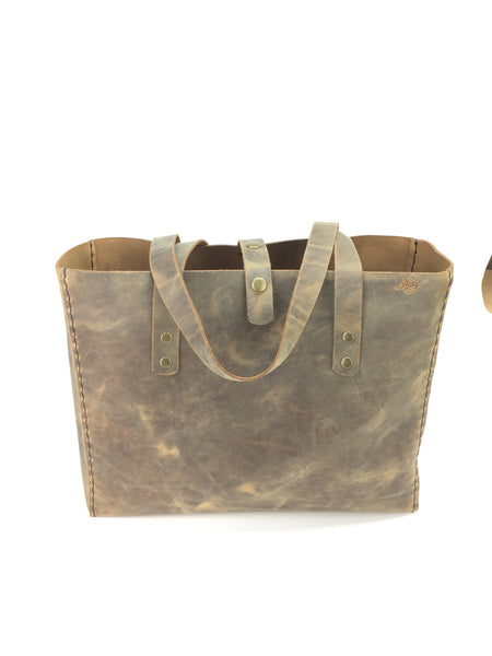 LEATHER TOTE BAG | H+B CLASSIC CRAZY-HORSE MOCHA BROWN TOTE BAG