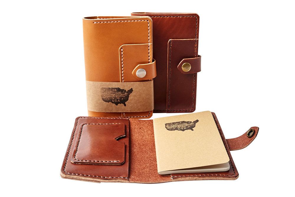 H+B NOTEBOOK/PASSPORT HOLDER WITH PEN SLEEVE | TAN LEATHER