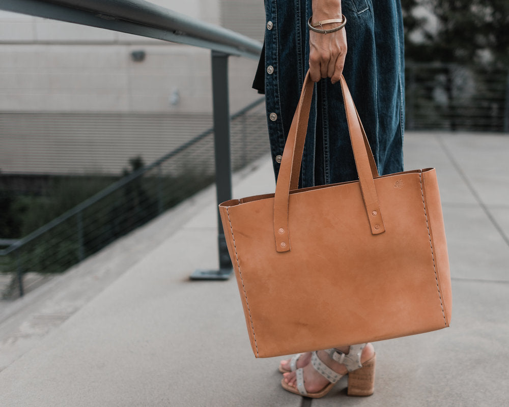LEATHER TOTE BAG | H+B CLASSIC RUSSET LEATHER TOTE BAG
