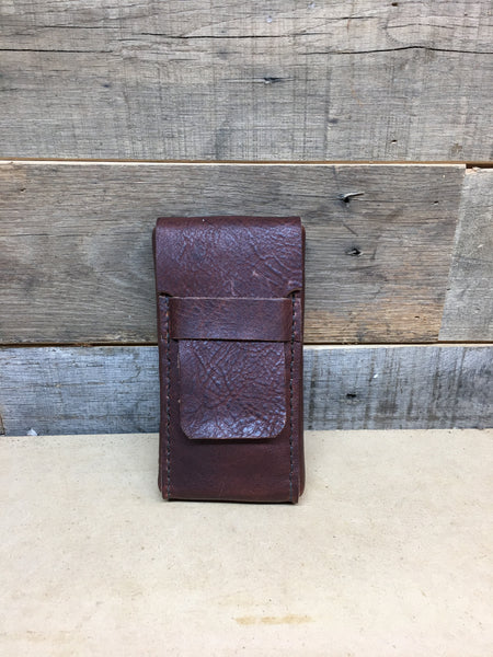H+B CIGAR CASE DARK BROWN LEATHER