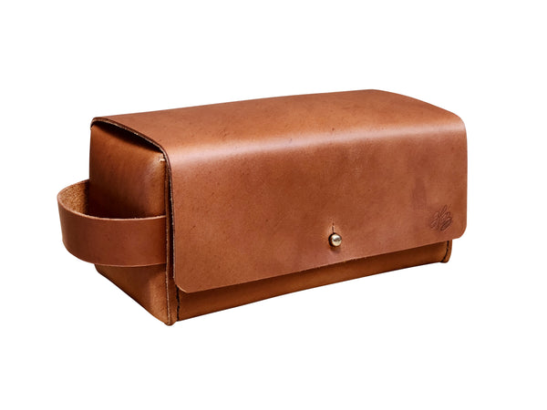 H+B SIMPLE DOPP KIT | TAN LEATHER