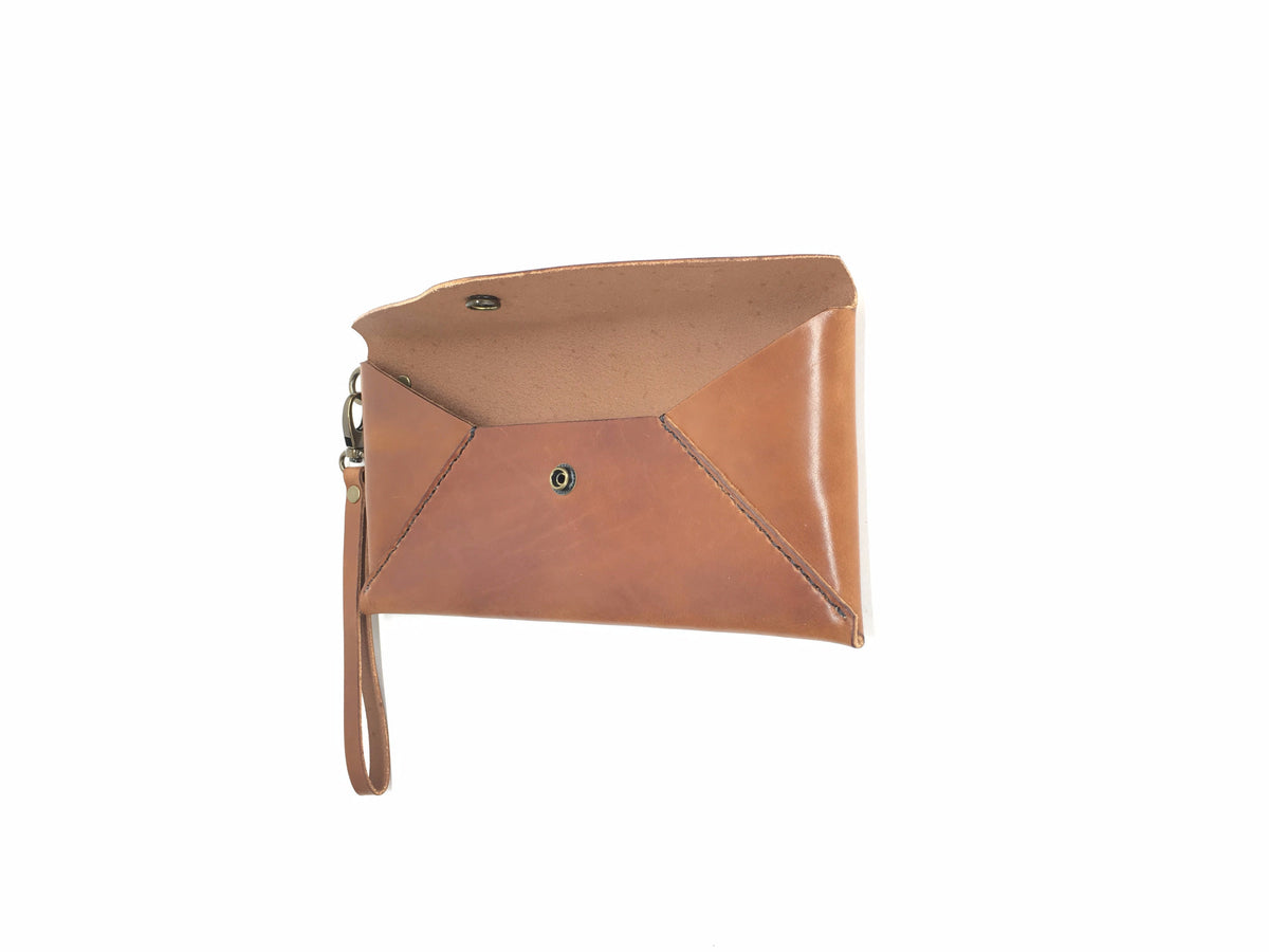 H+B CLUTCH |BUCK BROWN LEATHER CLUTCH PURSE